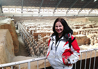 Our client at the Terracotta Warriors Museum, Xian