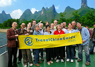 Our clients on Li River cruise