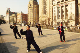 Local people doing Tai Chi at Shanghai Bund Area