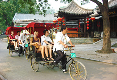 Unique rickshaw riding in old Hutongs