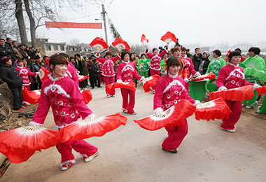 Chinese countryside people celebrating the festival