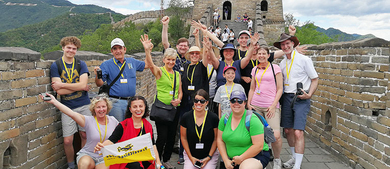 Our happy guests on the Mutianyu Great Wall