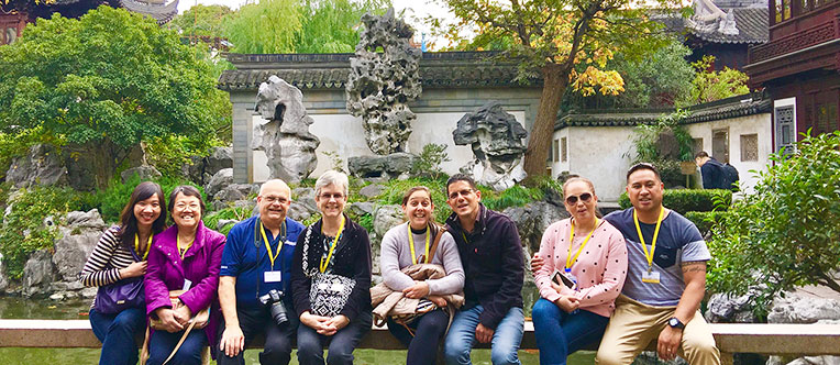 Our guests visiting the graceful Yu Garden