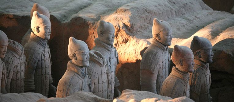Marvel at the vivid terracotta warriors
