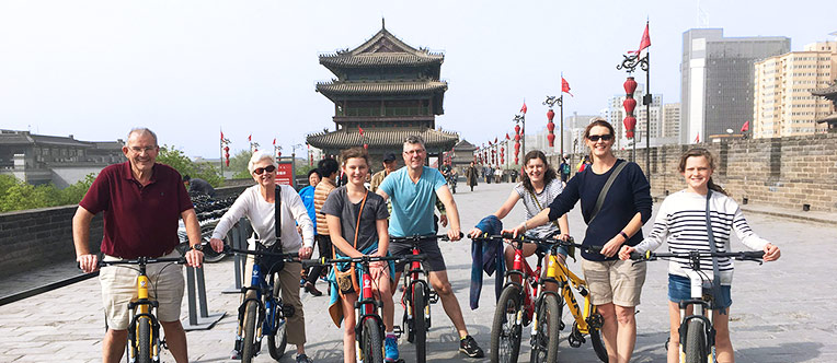 Riding bikes on the ancient Xi'an City Wall