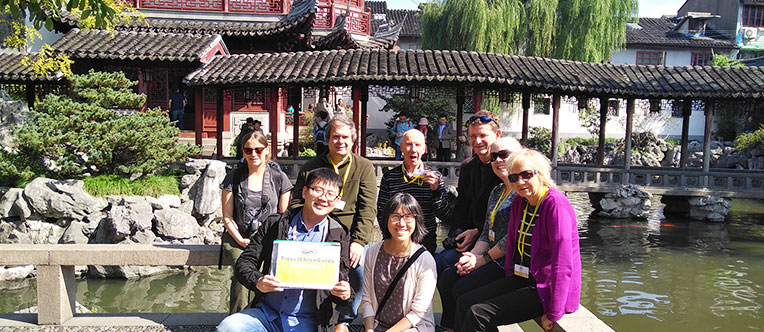 Our guests visiting the classical Yu Garden