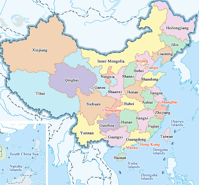 map of china provinces and cities