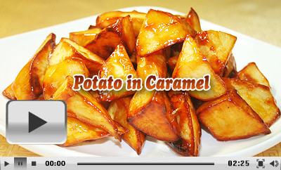 Potatoes in caramel recipe with cooking video chinese sweet dish video of potato in caramel forumfinder Image collections