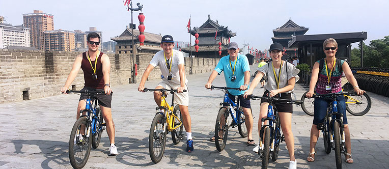 Enjoy cycling on the ancient Xian City Wall