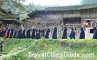 Solemn local people of Langdeshang Village played the special instrument, Guizhou.