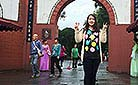 Emily in Dujiangyan Irrigation System Scenic Area, Chengdu