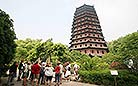 The octagonal pagoda reaches nearly 60 meters high with thirteen storeys of exterior eaves and seven storeys inside.