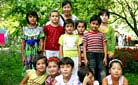 Our staff with Uygur children, Xinjiang - Staff training in 2010