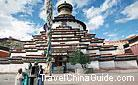 The beautiful Bodhi Stupa, Kumbum in Tibetan, is the symbol of Palkhor Monastery with hundreds of layers printed with countless images of icons.