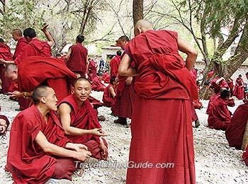 Lamas debating sutras at the Sera Monastery