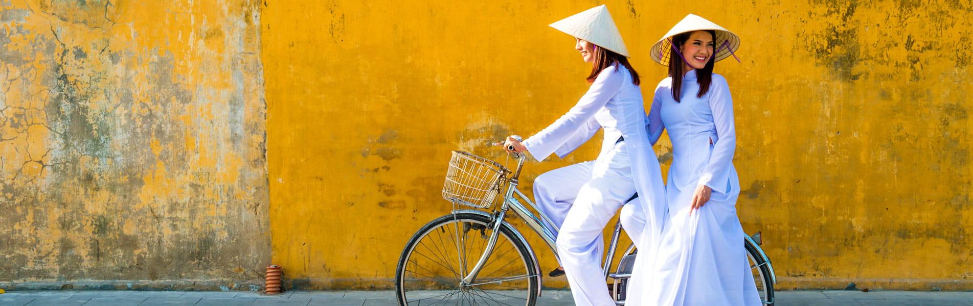 Vietnam women in traditional costumes
