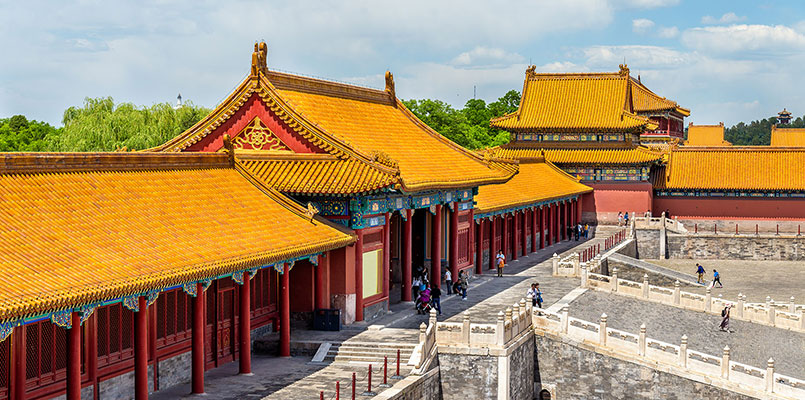 Appreciate the imposing palaces of the Forbidden City