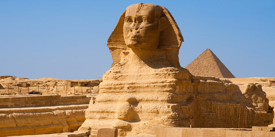The Great Sphinx with the Pyramids of Giza