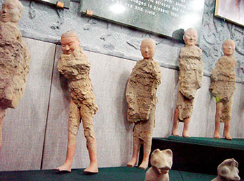 The unearthed pottery figurines