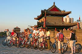 Cycling on the City Wall, Xian