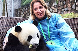 Our client photographing with a panda