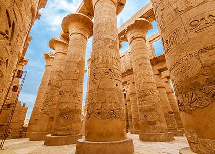 The giant stone columns of Karnak Temple