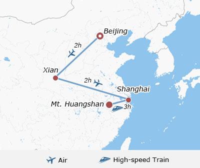 Huangshan Carte Chine.10 Days Group Beijing Xian Shanghai Mt Huangshan