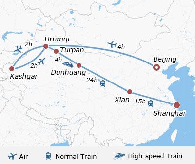14 Days Silk Road Route of Urumqi, Kashgar, Turpan, Dunhuang, Xian Kashgar Silk Road Map on pamir mountains silk road map, afghanistan silk road map, old silk road map, khotan silk road map, kunlun mountains silk road map, dunhuang silk road map, kucha silk road map, korla silk road map, marco polo silk road map, han dynasty silk road map, gobi desert silk road map, kazakhstan silk road map, mongol empire silk road map, rome silk road map, the classical silk road map, simple silk road map, china silk road map, turpan silk road map, merv silk road map, silk road trade route map,
