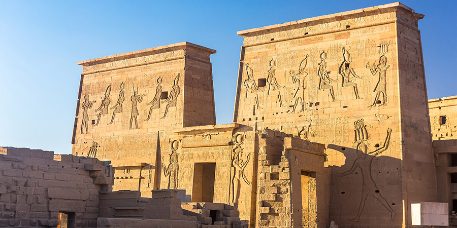 Temple of Philae, famous for the stone carvings