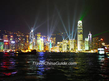Beautiful night view of Victoria Harbor