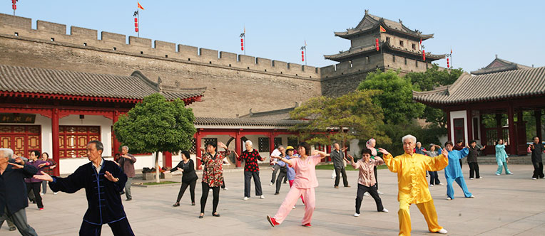 Local people playing Tai Chi in the City Wall Park