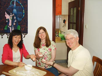 Our clients are learning to make dumplings in the family visit