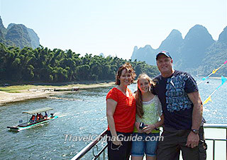 Our clients on the Li River Cruise