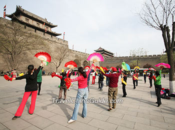 Local people dancing in the City Wall Park