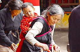 Tibetans prarying in Jokhang Temple